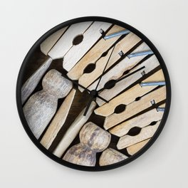 Wooden Clothespins 3 Wall Clock