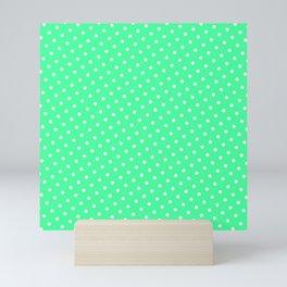 Pastel Goth Pastel Green Retro Polka Dot (White) Mini Art Print