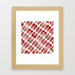 Cute Flip Flops Holiday Pattern Framed Art Print