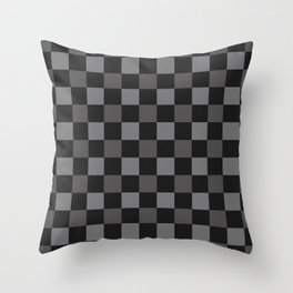 Black & Grey Checkered Plaid Squares Throw Pillow