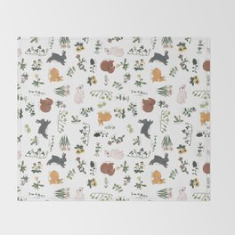 Bunnies and spring flowers Throw Blanket