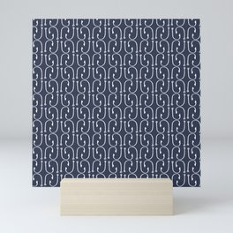 Fish Hooks in Navy Blue Mini Art Print