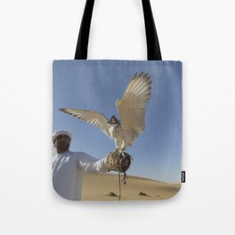 Falconer With Hooded Falcon In The Desert Tote Bag