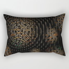 Dark and Orange Circle Weave Pattern Rectangular Pillow