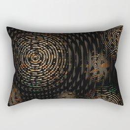 Dark and Orange Circle Weave Pattern Rectangular Pillow