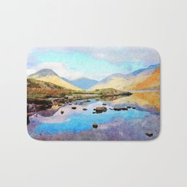 """Enough Blue Sky"" Derwentwater Reflections, Lake District, UK Bath Mat"