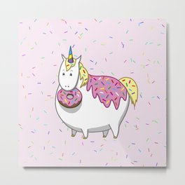 Cute Fat Unicorn Eating Pink Frosting Sprinkles Donut Metal Print