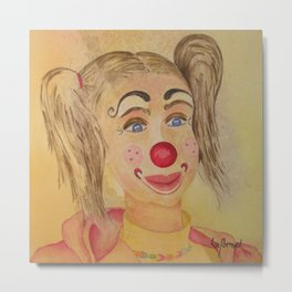 Ficelle à l'aquarelle, clown Metal Print