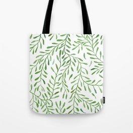 Vivid Green Tendril Botanical Watercolor Pattern Tote Bag