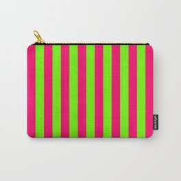 Super Bright Neon Pink and Green Vertical Beach Hut Stripes Carry-All Pouch