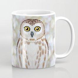 Northern saw whet owl woodland animal portrait Coffee Mug