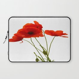 Delicate Red Poppies Vector Laptop Sleeve
