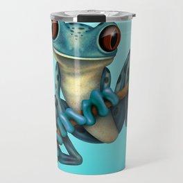 Cute Blue Tree Frog on a Branch Travel Mug