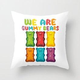 """Desert Design For Sweet Lovers T-shirt Design """"We Are Gummy Bears"""" Cherry Icing Cake Dessert Bear Throw Pillow"""