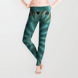 Turquoise Blue Plumage Mandala Kaleidoscope Pattern Leggings