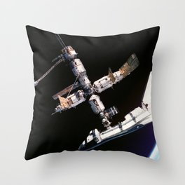 Space Shuttle Space Station Mir Dock Throw Pillow