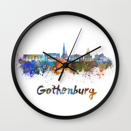Gothenburg skyline in watercolor Wall Clock