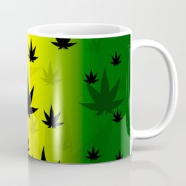 Pattern with cannabis leaf shapes on a yellow and red green background. Leaf of a marijuana plant. Coffee Mug
