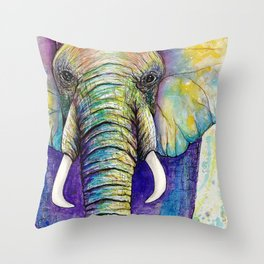 Close up Elephant Watercolor Throw Pillow