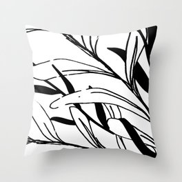 Entwined Sketched Branches in Black and White Throw Pillow