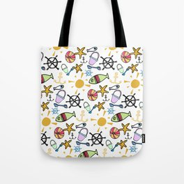 Bright and Cheerful Seaside Beach Pattern Tote Bag