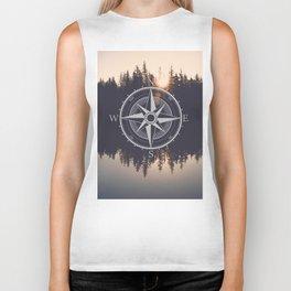 Wooded Lake Reflection Compass Biker Tank