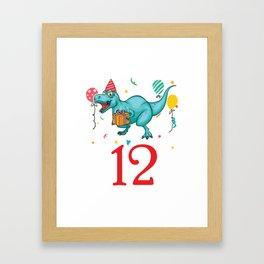12th Birthday For Boys Dinosaur Birthday Framed Art Print