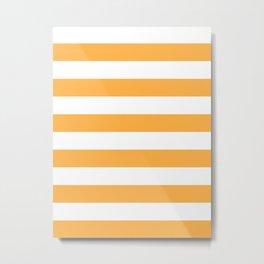 Horizontal Stripes - White and Pastel Orange Metal Print