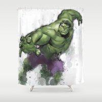 hulk Shower Curtains featuring Hulk  by Isaak_Rodriguez
