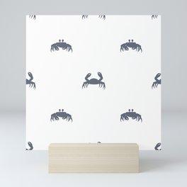 Blue crabs on white Mini Art Print