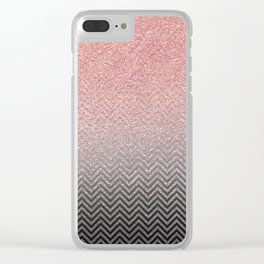 Blush chic pink  silver faux glitter geometrical Clear iPhone Case
