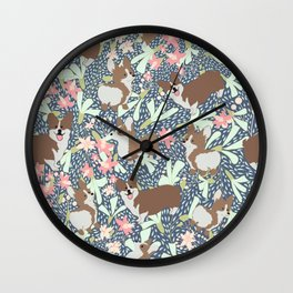 Corgi Pet Dogs having fun Wall Clock
