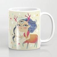 sagittarius Mugs featuring Sagittarius by Ana Varela