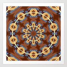 Blue Wood Kaleido Pattern Art Print