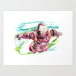 Watercolor Painting Iron Man  Art Print