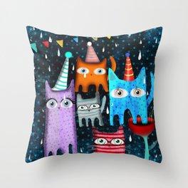 Raining Night Cats Party Throw Pillow