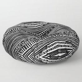 Linocut Tribal Pattern Floor Pillow