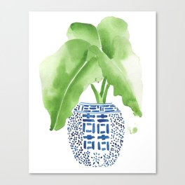 Ginger Jar + Elephant Ears Canvas Print