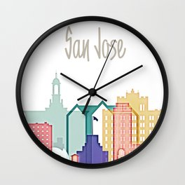 San Jose colorful skyline design Wall Clock