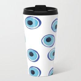 Evil Eye Watercolor Pattern (Mati) Metal Travel Mug