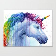 Rainbow Unicorn Colorful Watercolor Animal Canvas Print