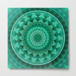 Emerald flower mandala Metal Print