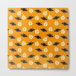 Halloween Bats and Pumpkins Metal Print