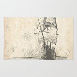 Vintage hand drawn galleon background Rug