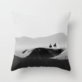 Two Riders Throw Pillow