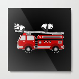 Panda Bear With Fire Engine Car Design Motif Metal Print