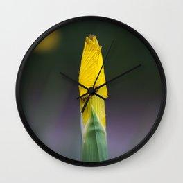 Yellow Iris Bud Wall Clock
