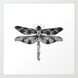 Lace dragonfly Art Print