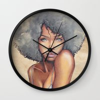 mermaid Wall Clocks featuring Mermaid by Bárbara  Kramer