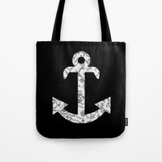 Marble Anchor in Black Tote Bag